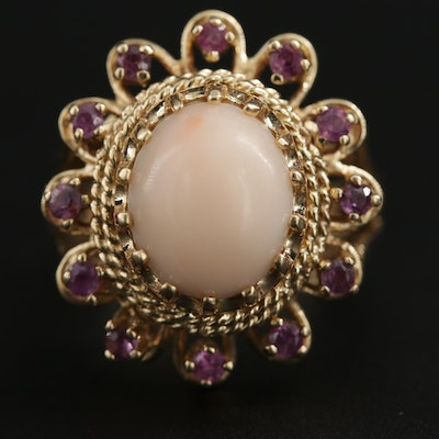14K Yellow Gold Coral and Ruby Ring