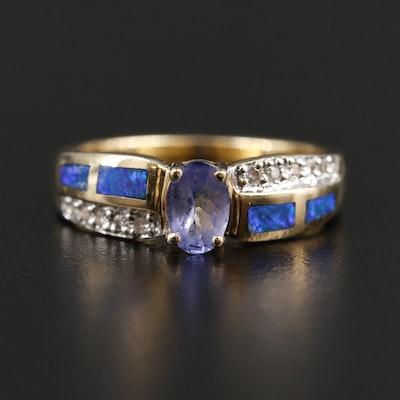 14K Yellow Gold Glass, Opal, and Diamond Ring