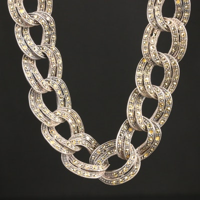 Sterling Silver Marcasite Link Necklace