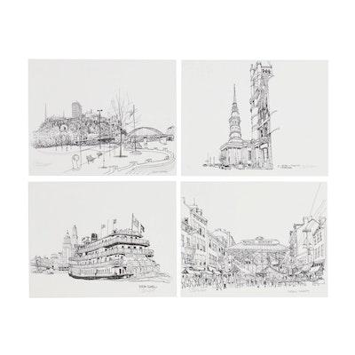 """Bill Olendorf Lithographs including """"Findlay Market"""""""