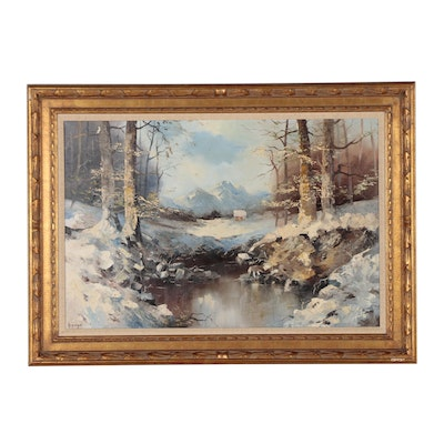 H. Hezinger Landscape Oil Painting of Winter Scene