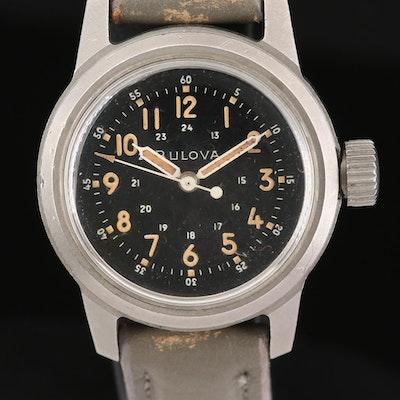 Bulova Military Navigation Type A17A Stainless Steel Stem Wind Wristwatch, 1958