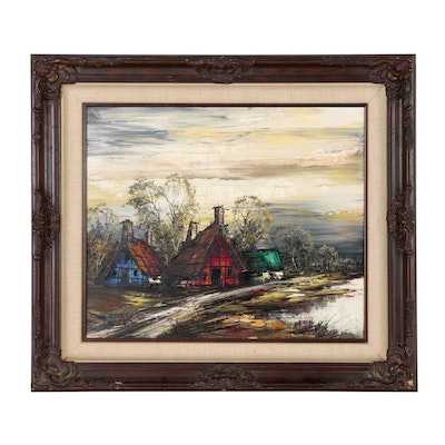 Expressionist Style Oil Painting of Cabins in Landscape