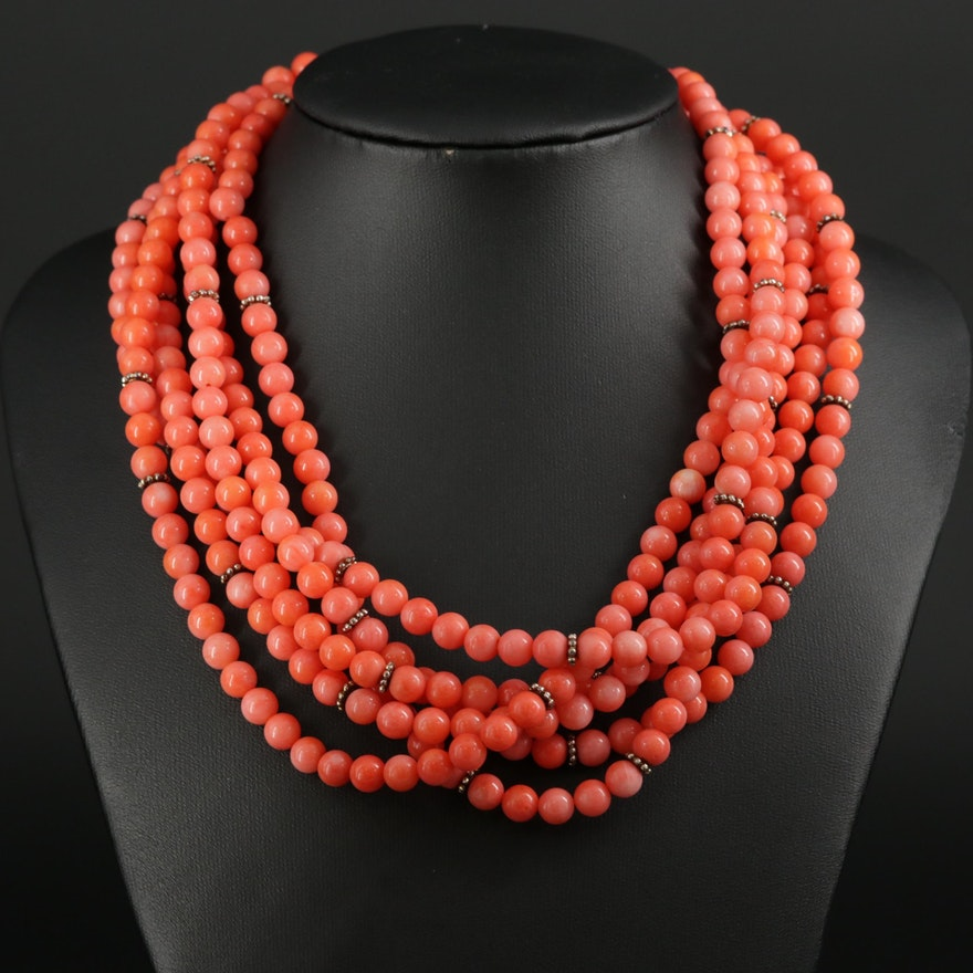 Sterling Silver Coral Multi-Strand Necklace