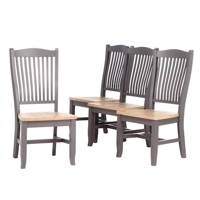 Painted Wood Slat-Back Dining Chairs, Contemporary