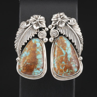 Roie Jaque Navajo Diné Sterling Silver Turquoise Clip On Earrings