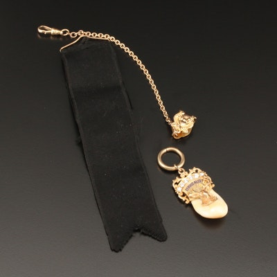 Vintage 10K and 14K Yellow Gold Diamond, Elk Tooth and Enamel Watch Fob