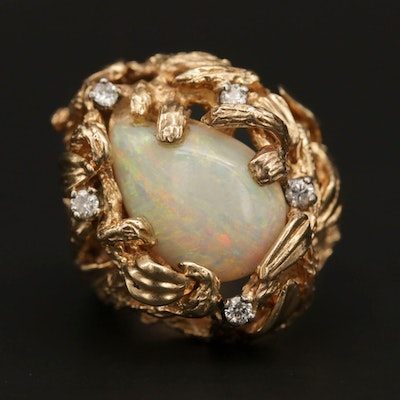 14K Yellow Gold Opal and Diamond Ring with Foliate Motif