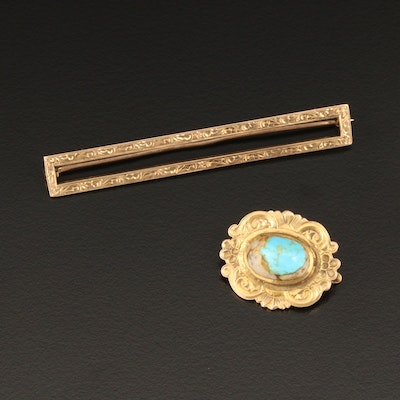 Vintage 10K Yellow Gold Turquoise and Bar Brooches