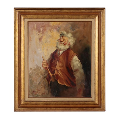 Portrait Oil Painting of Older Gentleman with Instrument