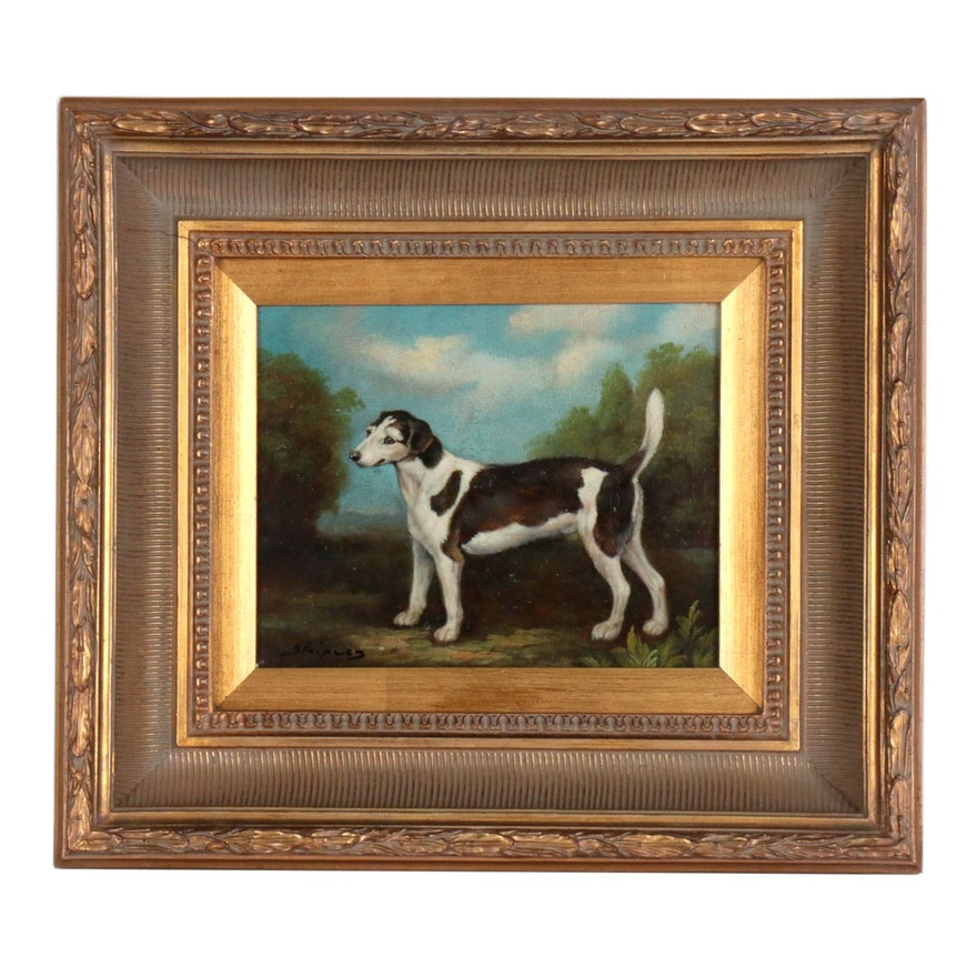 Canine Portrait Oil Painting, Mid 20th Century