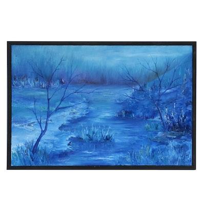 Farshad Lanjani River Landscape at Night Oil Painting, 2014
