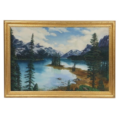 Gallagher Mountain Lake Landscape Oil Painting, 1945