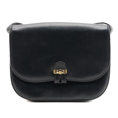 Gucci Flap Front Shoulder Bag in Navy Blue Leather, Vintage