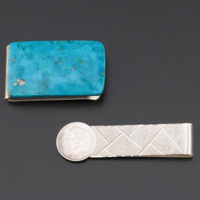 Composite Turquoise and 900 Silver with Coin Money Clips
