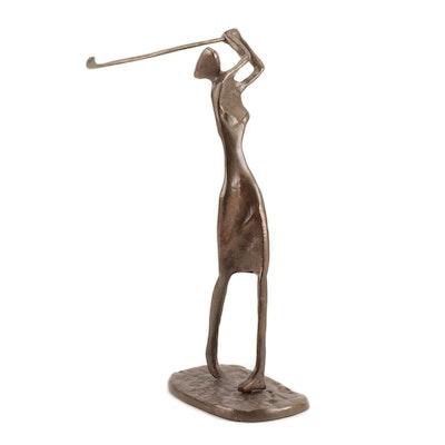 Mid Century Modern Cast Brass Female Golfer Figurine