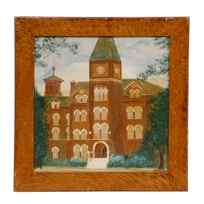 "Folk Art Oil Painting ""University Hall"", early 20th century"