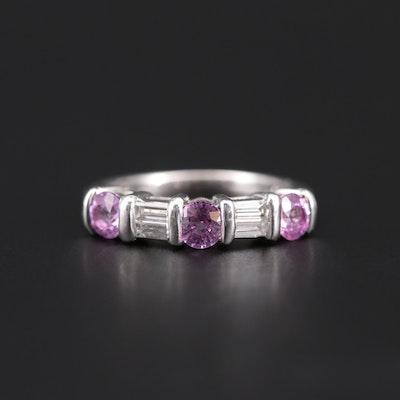 Platinum-Palladium Pink Sapphire and Diamond Ring