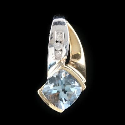 10K White and Yellow Gold Aquamarine and Diamond Pendant