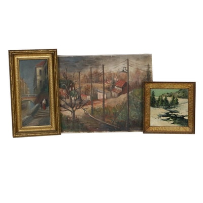 Landscape Oil Paintings, Mid-20th Century