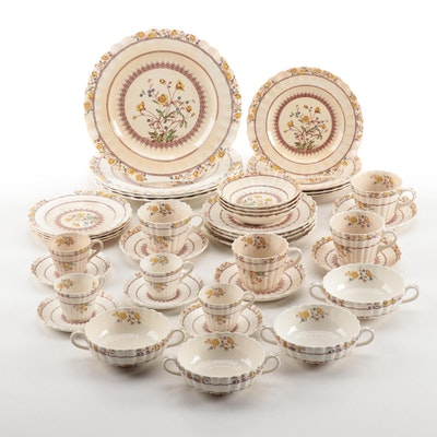"""Spode """"Buttercup"""" Earthenware Dinnerware for Four, Early/Mid 20th Century"""