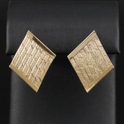 14K Yellow Gold Earrings with Herringbone Chain