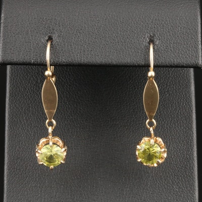 Vintage 10K Yellow Gold Idocrase Dangle Earrings