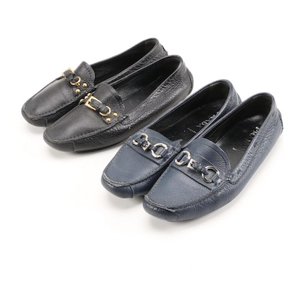 Prada Driving Loafers in Black and Navy Textured Daino Leather