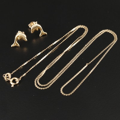 14K Yellow Gold Serpentine Link Chain with Dolphin Earrings