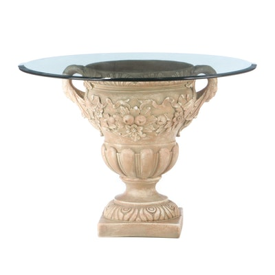 Cast Plaster Urn and Beveled Glass Dining Table, Late 20th Century