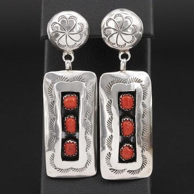 Southwestern Style Sterling Silver Coral Shadowbox Earrings