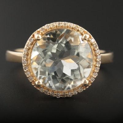14K Yellow Gold Green Quartz and Diamond Ring