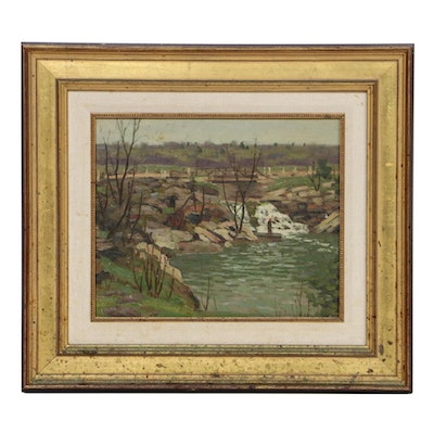 George Thomson River Landscape Oil Painting, Early to Mid 20th Century