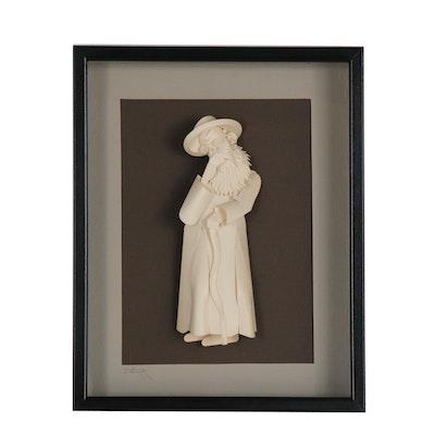 Jack Eisner Cut Paper Sculpture of a Jewish Figure