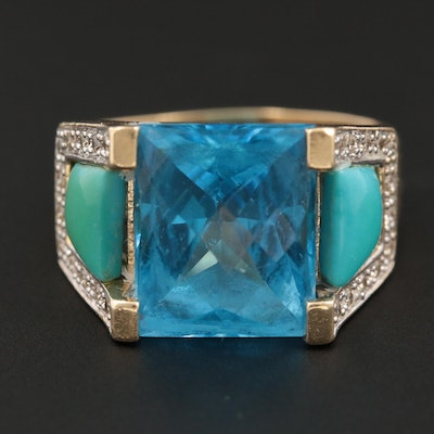 14K Yellow Gold Topaz, Turquoise and Diamond Ring
