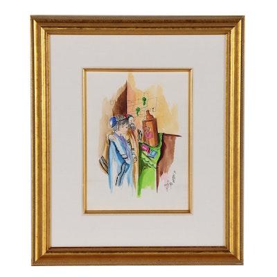 "Watercolor Embellished Print after Sami Zilkha""Bar Mitzvah"""
