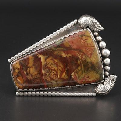 Southwestern Style Sterling Silver Jasper Belt Buckle