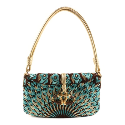 Valentino Garavani Peacock Embroidered Bag with Turquoise Jeweled Logo