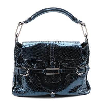 Jimmy Choo Metallic Blue Karung Tulita Bag