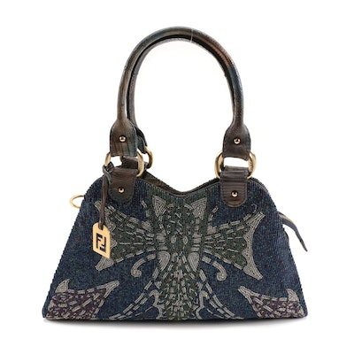 Fendi Glazed Lizard Skin Trimmed Multicolor Bead Devil Trapezio Bag