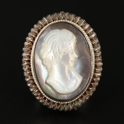 Vintage Mother of Pearl Cameo Converter Brooch