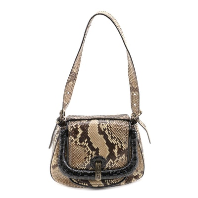 Fendi Python Skin and Black Patent Leather Flap Front Shoulder Bag
