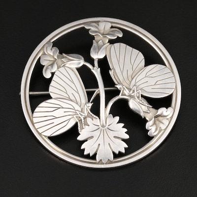 Georg Jensen Sterling Silver Floral Butterfly Brooch
