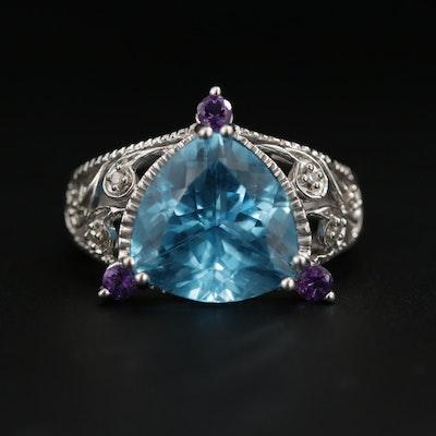 10K White Gold Blue Topaz, Amethyst and Diamond Ring