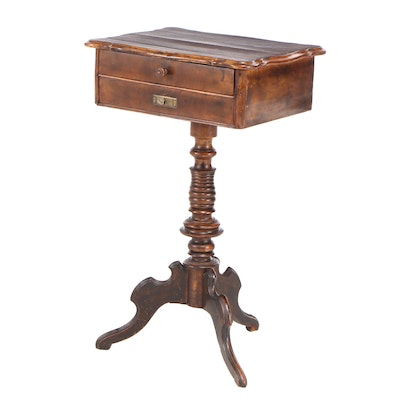 Walnut-Stained Tripod Sewing Table, Late 19th Century