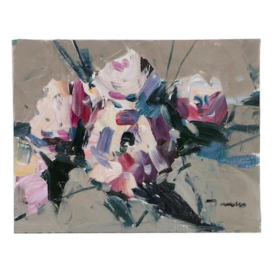 "Jose Trujillo Still Life Oil Painting ""White Roses,"" 2019"