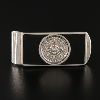 Mexican Sterling Silver Enamel Mayan Sun Money Clip