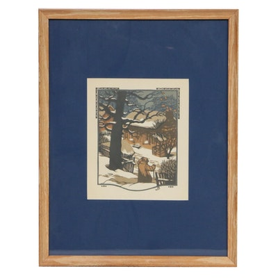 """Gustave Baumann Woodblock for """"All the Year Round,"""" 1912"""