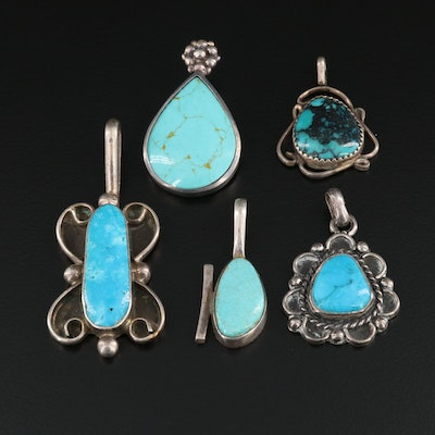 Signed Southwestern Style Sterling Silver Turquoise Pendants