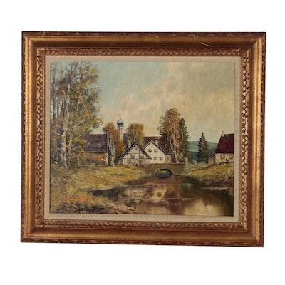Josef Fruhmesser Oil Painting of Village Scene